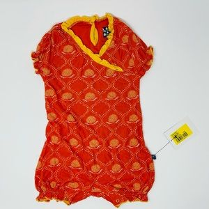 Kickee Pants Print Ruffle Romper Poppy Marigold